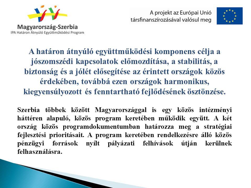 A határon átnyúló együttműködési komponens célja a jószomszédi kapcsolatok előmozdítása, a stabilitás, a biztonság és a jólét elősegítése az érintett