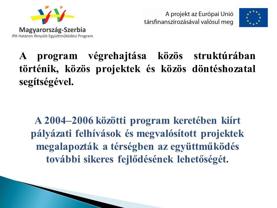 A program végrehajtása közös struktúrában történik, közös projektek és közös döntéshozatal segítségével. A 2004–2006 közötti program keretében kiírt p