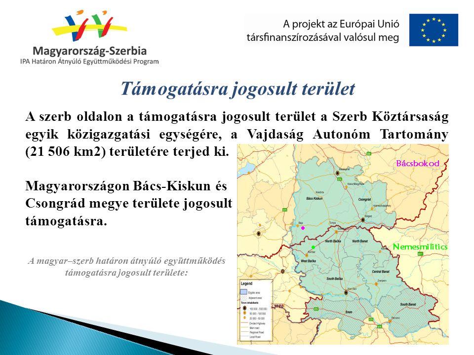 Támogatásra jogosult terület A szerb oldalon a támogatásra jogosult terület a Szerb Köztársaság egyik közigazgatási egységére, a Vajdaság Autonóm Tart