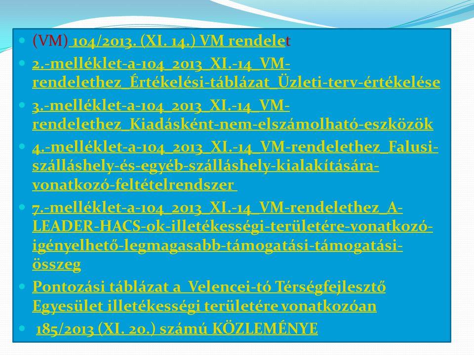  (VM) 104/2013. (XI. 14.) VM rendelet 104/2013.