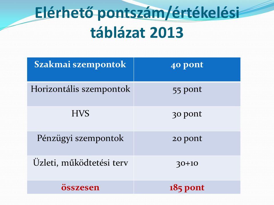 Elérhető pontszám/értékelési táblázat 2013 Szakmai szempontok40 pont Horizontális szempontok55 pont HVS30 pont Pénzügyi szempontok20 pont Üzleti, működtetési terv30+10 összesen185 pont