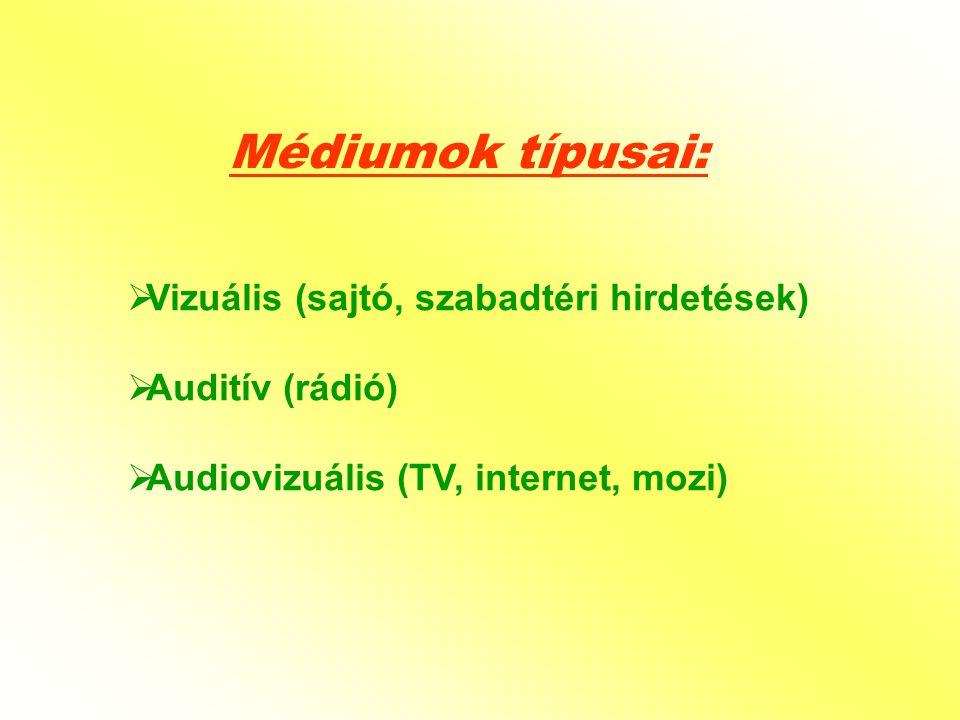  Vizuális (sajtó, szabadtéri hirdetések)  Auditív (rádió)  Audiovizuális (TV, internet, mozi) Médiumok típusai: