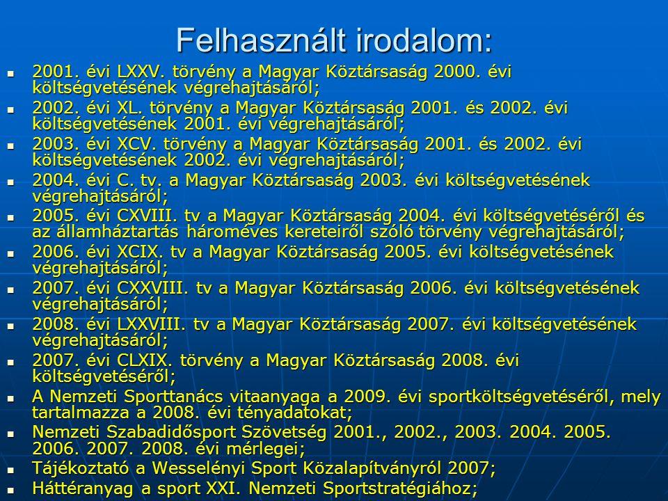 Felhasznált irodalom:  2001. évi LXXV. törvény a Magyar Köztársaság 2000. évi költségvetésének végrehajtásáról;  2002. évi XL. törvény a Magyar Közt