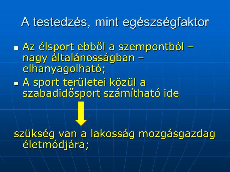 A testedzés, mint egészségfaktor  Az élsport ebből a szempontból – nagy általánosságban – elhanyagolható;  A sport területei közül a szabadidősport