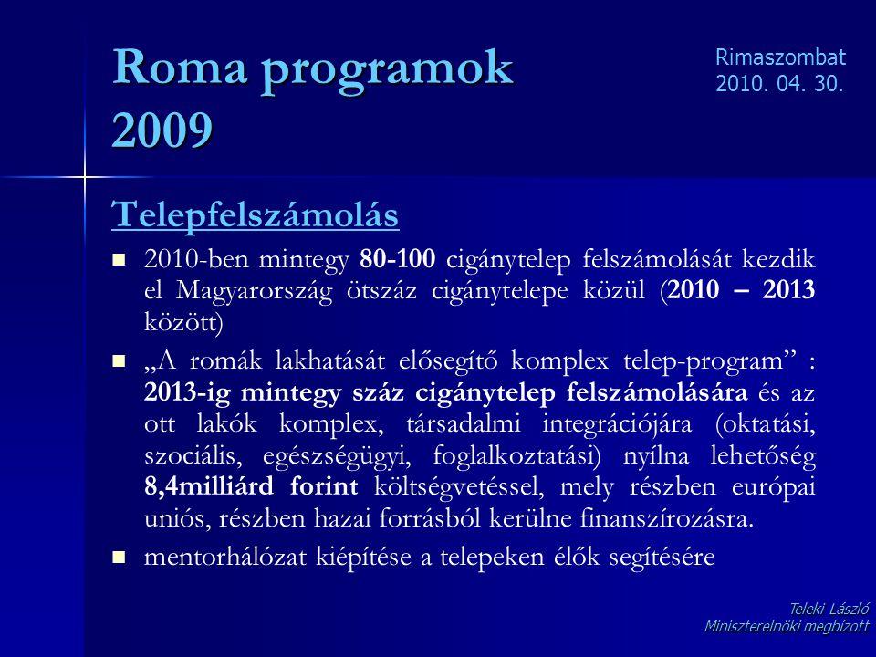 Roma programok 2009 Telepfelszámolás   2010-ben mintegy 80-100 cigánytelep felszámolását kezdik el Magyarország ötszáz cigánytelepe közül (2010 – 20
