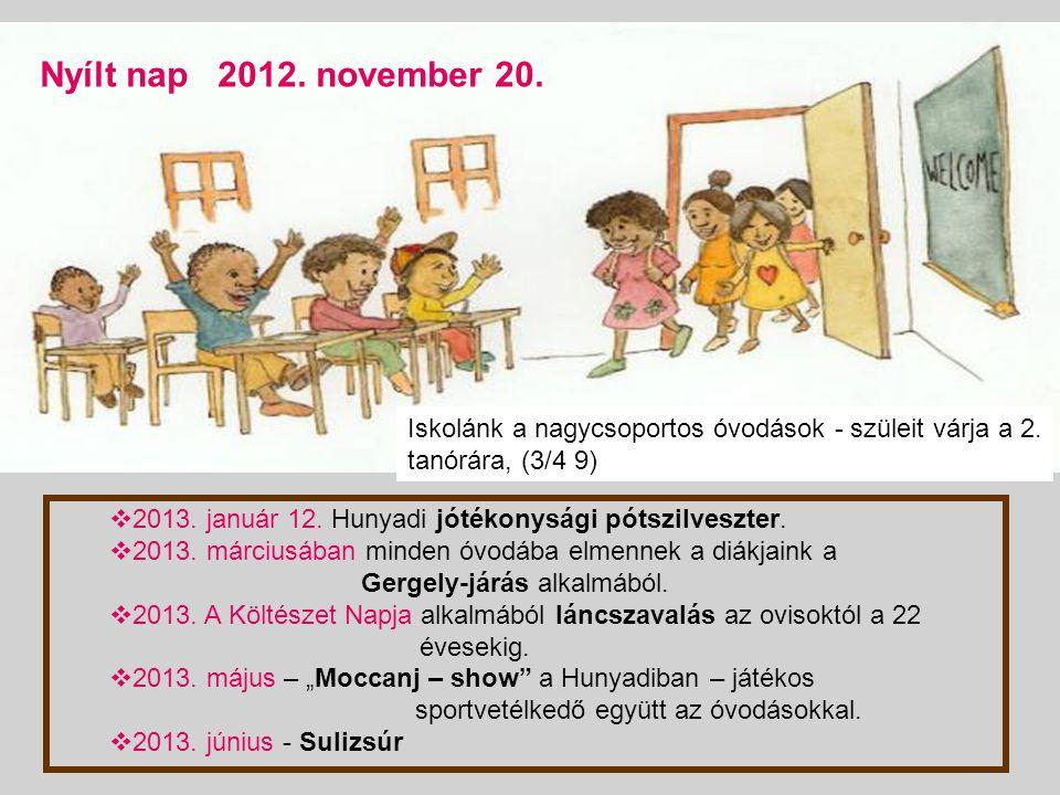 2012. október 1-jétől péntek 9:00 órától hunyadis testnevelésórák a gimnázium tornatermében Iskola A nagycsoportos óvodásokat várjuk közös rendezvénye