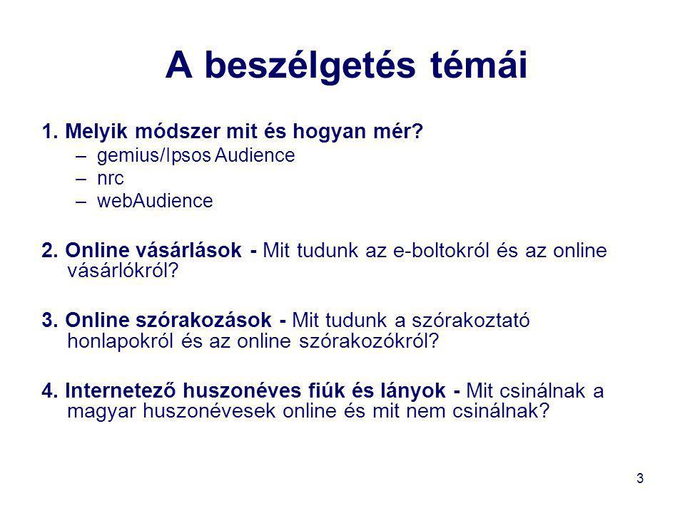 24 Internetező huszonévesek •A blogolvasók bő fele havonta csupán egy vagy két napon keres fel blogoldalakat, köztük többségben vannak a nők; •a gyakori blogolók között több a férfi (58:42); •a blogoldalakra az olvasók bő harmada keresőkből érkezik, amely csoport összetételét döntően a keresők látogató-összetétele szabja meg; •egyes posztokat nagy forgalmú site-ok ajánlanak, döntően a politika, a közélet, vagy a bulvár témaköré- ben.