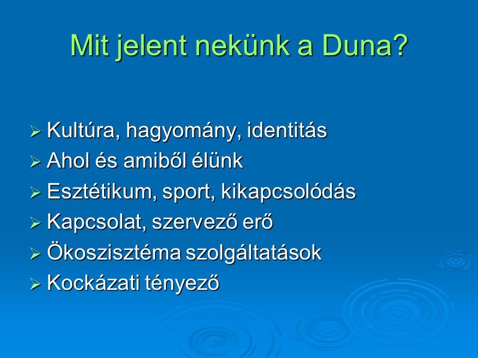 Mit jelent nekünk a Duna?  Kultúra, hagyomány, identitás  Ahol és amiből élünk  Esztétikum, sport, kikapcsolódás  Kapcsolat, szervező erő  Ökoszi