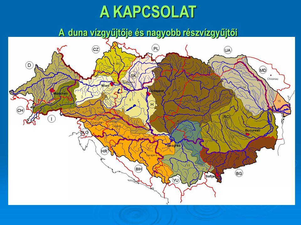 A KAPCSOLAT   800.000 km 2 - a Fekete erdőtől a Fekete-tengerig, természetes határokkal   19 ország osztozik rajta   Több mint 80 millió embernek ad otthont   Társadalmi, gazdasági és területi különbségek (GDP: 1000-36000Euro/fő)   Geopolitikai jelentőség (Ny-Közép-K-D-Európa, Balkán), gazdasági tér   Ökológiai folyosó: ~2000 növény- 5000 állatfaj – invázív fajok   Közlekedési folyosó (2411km, 78 kikötő); DMR csatornával: 3483km   Dinamikusan fejlődő fővárosok és agglomerációjuk (Bécs, Pozsony, Budapest, Belgrád)   Hidak (DE 687/89; HU 417/20; RO:1020/5; BU: 472/0 fkm/db) Egymásra utaltság Közös értékek problémák és kihívások