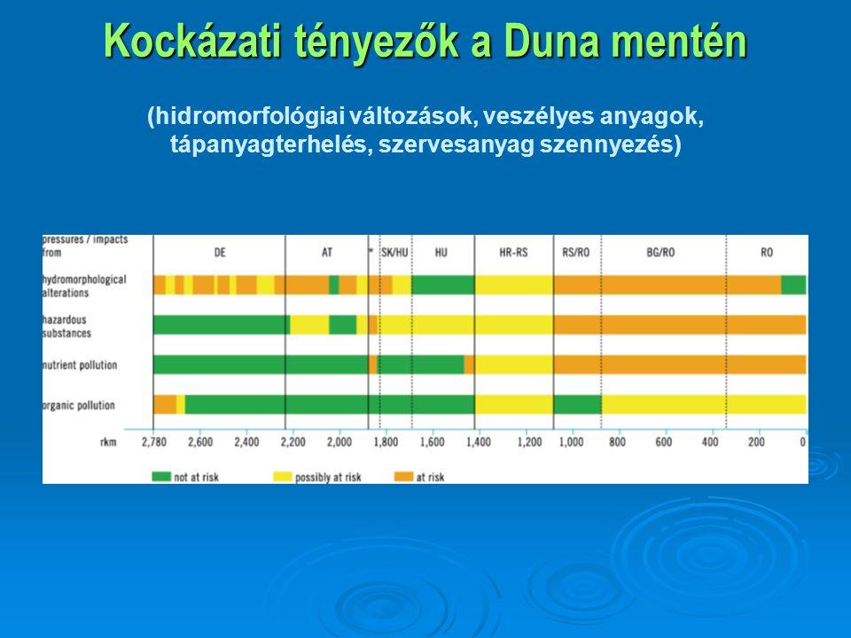 Kockázati tényezők a Duna mentén Kockázati tényezők a Duna mentén (hidromorfológiai változások, veszélyes anyagok, tápanyagterhelés, szervesanyag szen
