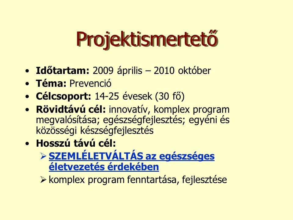 Projektismertető •Időtartam: 2009 április – 2010 október •Téma: Prevenció •Célcsoport: 14-25 évesek (30 fő) •Rövidtávú cél: innovatív, komplex program megvalósítása; egészségfejlesztés; egyéni és közösségi készségfejlesztés •Hosszú távú cél:  SZEMLÉLETVÁLTÁS az egészséges életvezetés érdekében  komplex program fenntartása, fejlesztése