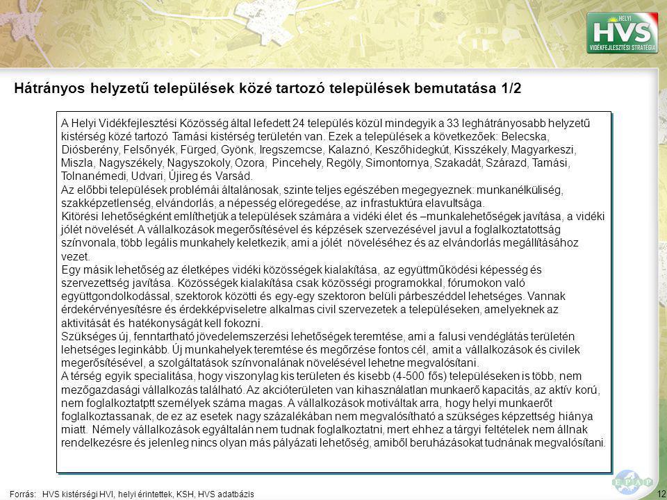 12 A Helyi Vidékfejlesztési Közösség által lefedett 24 település közül mindegyik a 33 leghátrányosabb helyzetű kistérség közé tartozó Tamási kistérség területén van.
