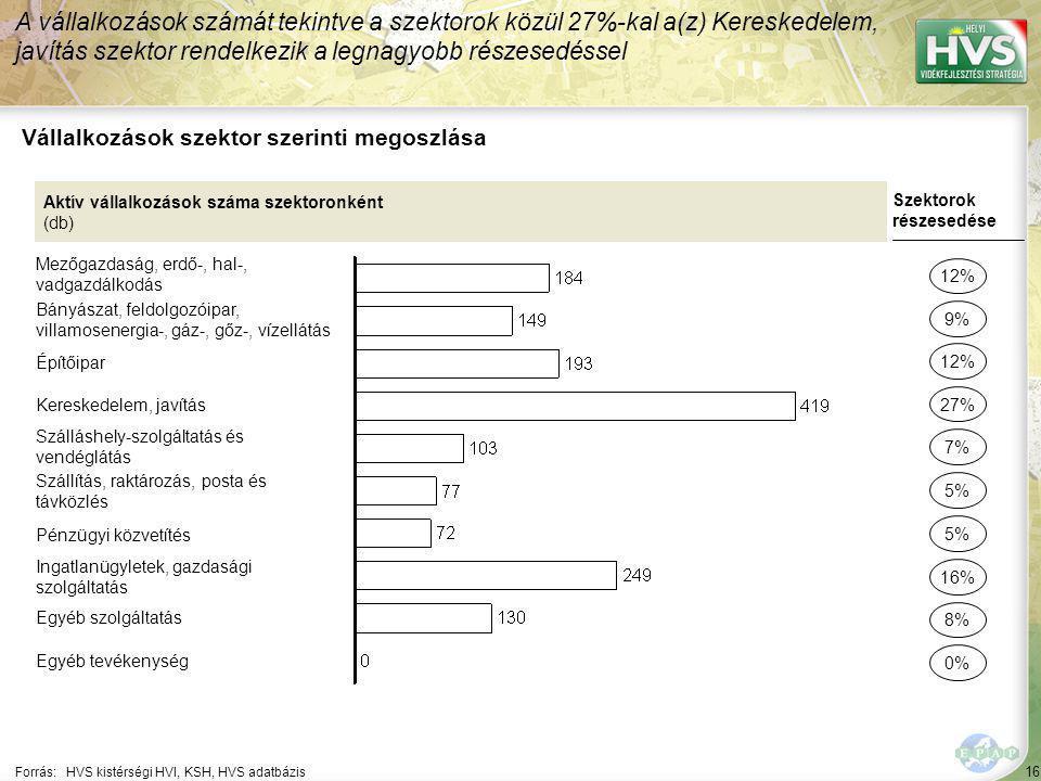 16 Forrás:HVS kistérségi HVI, KSH, HVS adatbázis Vállalkozások szektor szerinti megoszlása A vállalkozások számát tekintve a szektorok közül 27%-kal a(z) Kereskedelem, javítás szektor rendelkezik a legnagyobb részesedéssel Aktív vállalkozások száma szektoronként (db) Mezőgazdaság, erdő-, hal-, vadgazdálkodás Bányászat, feldolgozóipar, villamosenergia-, gáz-, gőz-, vízellátás Építőipar Kereskedelem, javítás Szálláshely-szolgáltatás és vendéglátás Szállítás, raktározás, posta és távközlés Pénzügyi közvetítés Ingatlanügyletek, gazdasági szolgáltatás Egyéb szolgáltatás Egyéb tevékenység Szektorok részesedése 12% 9% 27% 7% 5% 16% 8% 0% 12% 5%