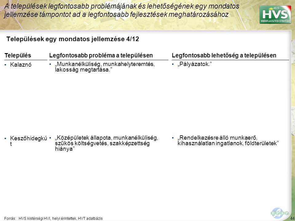 44 Települések egy mondatos jellemzése 4/12 A települések legfontosabb problémájának és lehetőségének egy mondatos jellemzése támpontot ad a legfontos