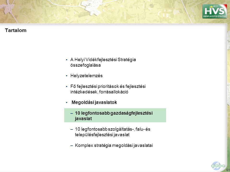 61 Tartalom ▪A Helyi Vidékfejlesztési Stratégia összefoglalása ▪Helyzetelemzés ▪Fő fejlesztési prioritások és fejlesztési intézkedések, forrásallokáció ▪ Megoldási javaslatok –10 legfontosabb gazdaságfejlesztési javaslat –10 legfontosabb szolgáltatás-, falu- és településfejlesztési javaslat –Komplex stratégia megoldási javaslatai