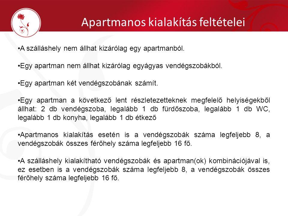 Apartmanos kialakítás feltételei •A szálláshely nem állhat kizárólag egy apartmanból. •Egy apartman nem állhat kizárólag egyágyas vendégszobákból. •Eg