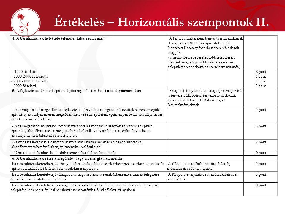 Értékelés – Horizontális szempontok II. 4. A beruházásnak helyt adó település lakosságszáma: A támogatási kérelem benyújtási időszakának 1. napján a K