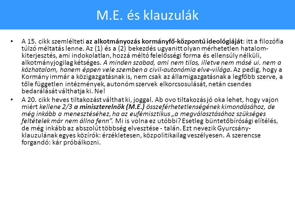 M.E. és klauzulák • A 15.