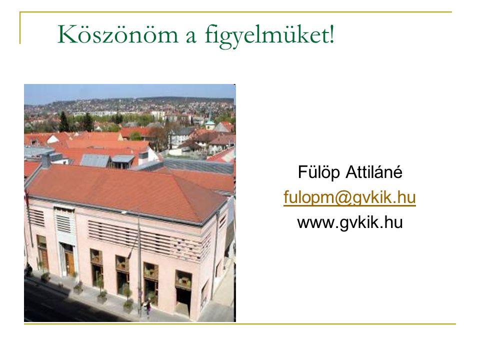 Köszönöm a figyelmüket! Fülöp Attiláné fulopm@gvkik.hu www.gvkik.hu