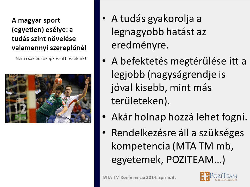 MTA TM Konferencia 2014. április 3. A magyar sport (egyetlen) esélye: a tudás szint növelése valamennyi szereplőnél • A tudás gyakorolja a legnagyobb