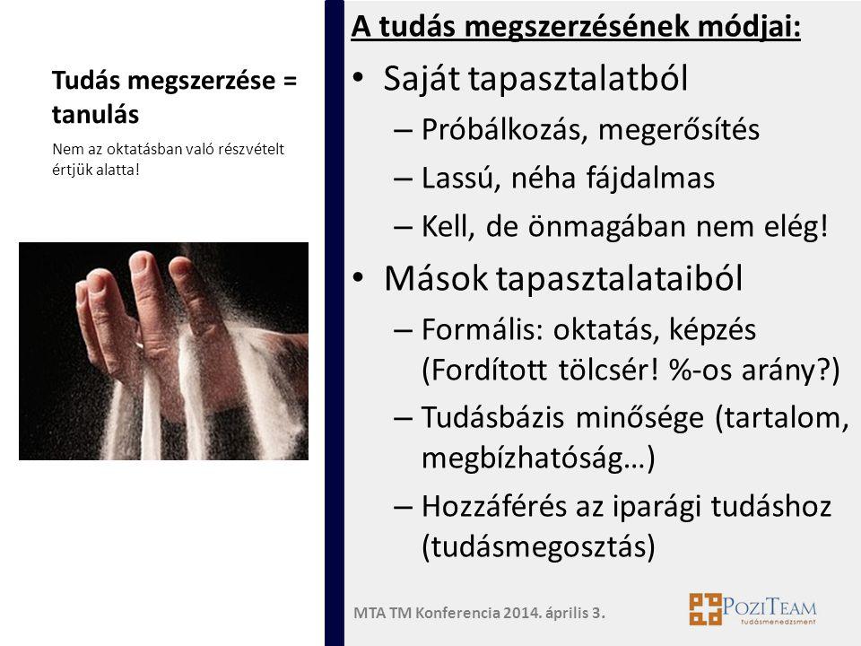 MTA TM Konferencia 2014. április 3. Tudás megszerzése = tanulás A tudás megszerzésének módjai: • Saját tapasztalatból – Próbálkozás, megerősítés – Las