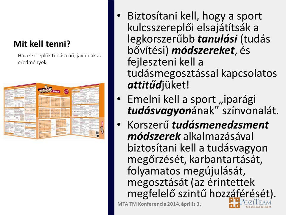 MTA TM Konferencia 2014. április 3. Mit kell tenni? • Biztosítani kell, hogy a sport kulcsszereplői elsajátítsák a legkorszerűbb tanulási (tudás bővít