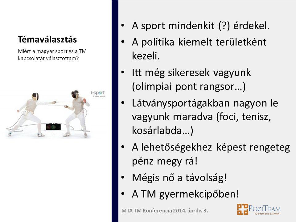 MTA TM Konferencia 2014. április 3. Témaválasztás • A sport mindenkit (?) érdekel. • A politika kiemelt területként kezeli. • Itt még sikeresek vagyun