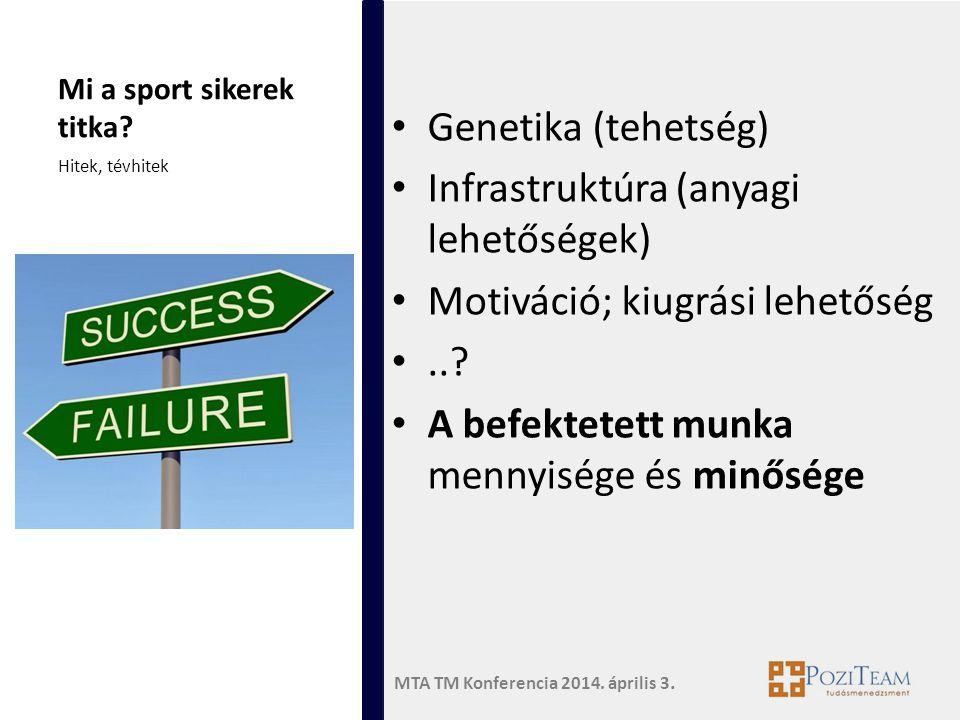 MTA TM Konferencia 2014. április 3. Mi a sport sikerek titka? • Genetika (tehetség) • Infrastruktúra (anyagi lehetőségek) • Motiváció; kiugrási lehető