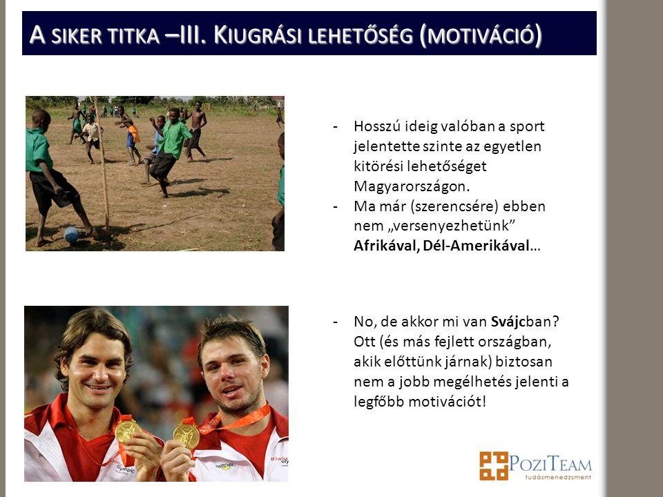A SIKER TITKA –III. K IUGRÁSI LEHETŐSÉG ( MOTIVÁCIÓ ) -Hosszú ideig valóban a sport jelentette szinte az egyetlen kitörési lehetőséget Magyarországon.