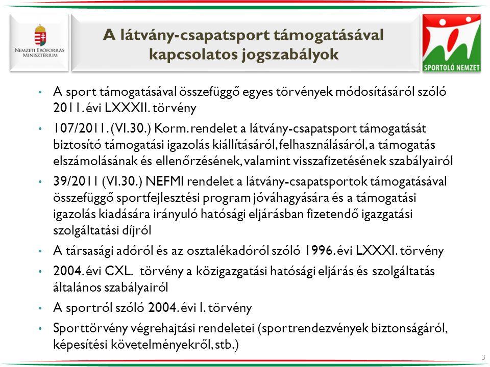 A látvány-csapatsport támogatásával kapcsolatos jogszabályok • A sport támogatásával összefüggő egyes törvények módosításáról szóló 2011. évi LXXXII.