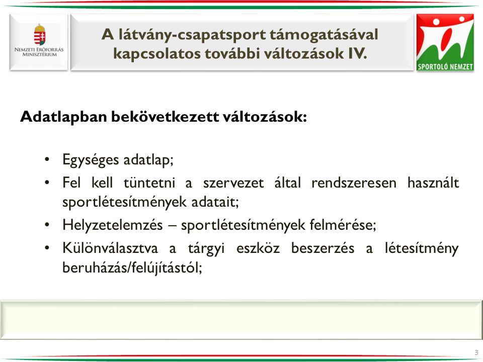 A látvány-csapatsport támogatásával kapcsolatos további változások IV. 3 Adatlapban bekövetkezett változások: •Egységes adatlap; •Fel kell tüntetni a