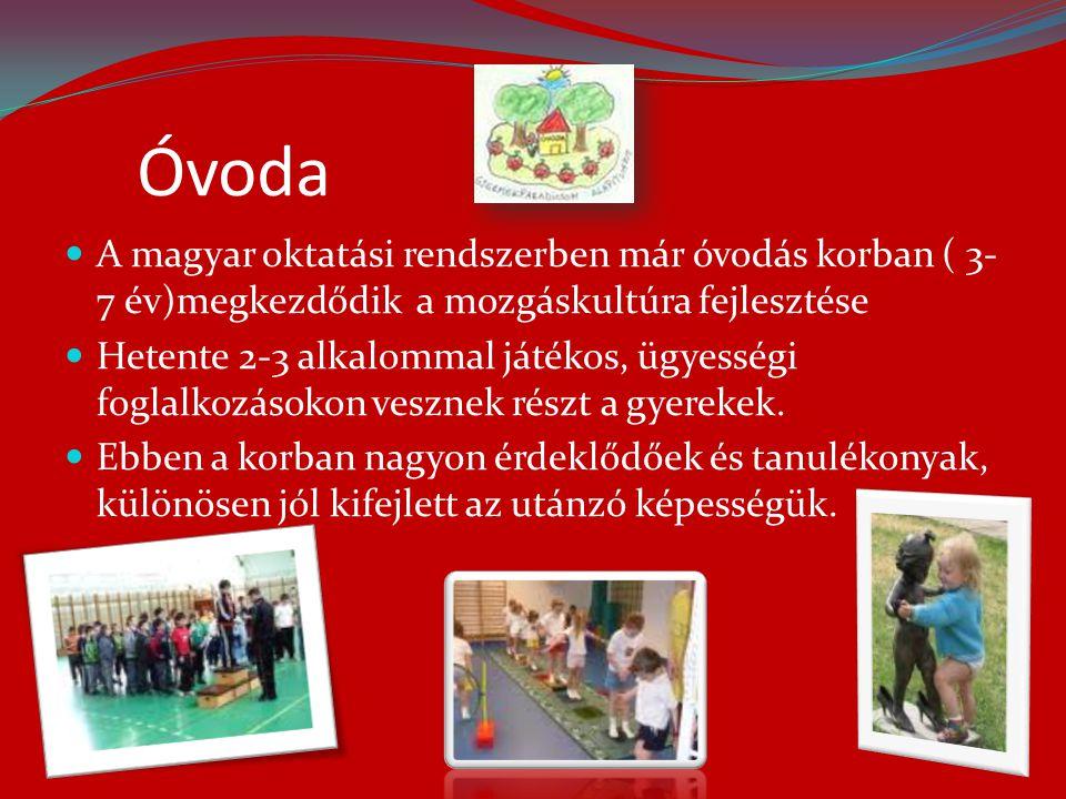 Óvoda  A magyar oktatási rendszerben már óvodás korban ( 3- 7 év)megkezdődik a mozgáskultúra fejlesztése  Hetente 2-3 alkalommal játékos, ügyességi foglalkozásokon vesznek részt a gyerekek.