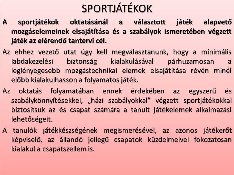 SPORTJÁTÉKOK A sportjátékok oktatásánál a választott játék alapvető mozgáselemeinek elsajátítása és a szabályok ismeretében végzett játék az elérendő