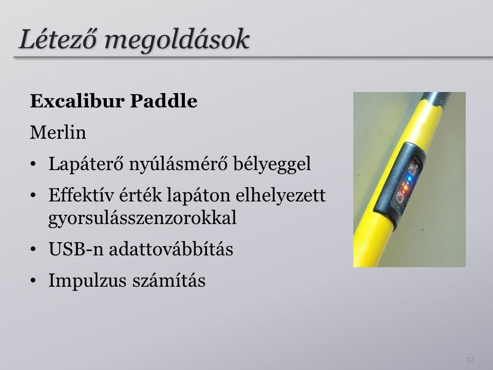 Létező megoldások Excalibur Paddle Merlin • Lapáterő nyúlásmérő bélyeggel • Effektív érték lapáton elhelyezett gyorsulásszenzorokkal • USB-n adattovábbítás • Impulzus számítás 12