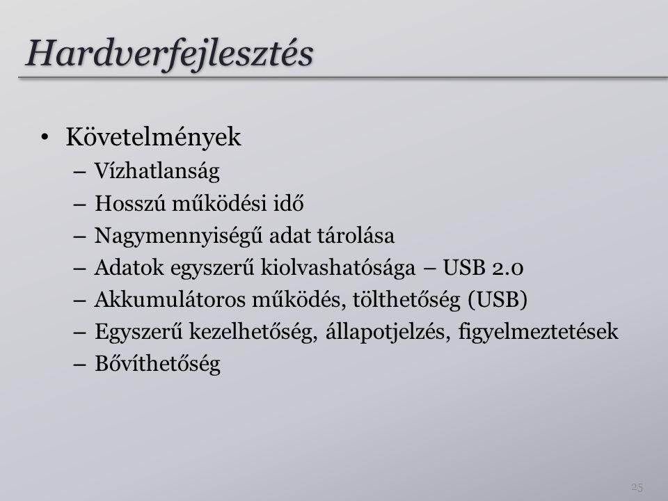 Hardverfejlesztés • Követelmények – Vízhatlanság – Hosszú működési idő – Nagymennyiségű adat tárolása – Adatok egyszerű kiolvashatósága – USB 2.0 – Akkumulátoros működés, tölthetőség (USB) – Egyszerű kezelhetőség, állapotjelzés, figyelmeztetések – Bővíthetőség 25