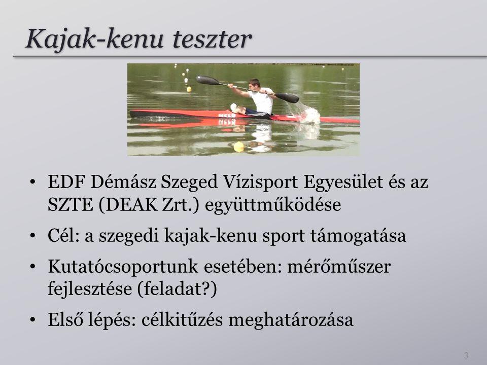 Kajak-kenu teszter • EDF Démász Szeged Vízisport Egyesület és az SZTE (DEAK Zrt.) együttműködése • Cél: a szegedi kajak-kenu sport támogatása • Kutatócsoportunk esetében: mérőműszer fejlesztése (feladat?) • Első lépés: célkitűzés meghatározása 3
