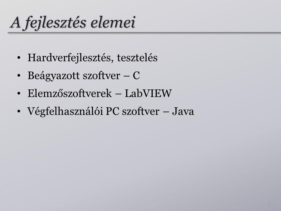 A fejlesztés elemei • Hardverfejlesztés, tesztelés • Beágyazott szoftver – C • Elemzőszoftverek – LabVIEW • Végfelhasználói PC szoftver – Java 7