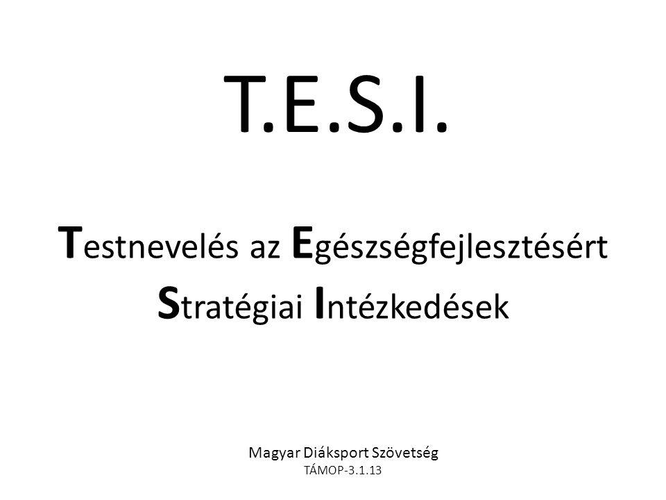 T.E.S.I. T estnevelés az E gészségfejlesztésért S tratégiai I ntézkedések Magyar Diáksport Szövetség TÁMOP-3.1.13