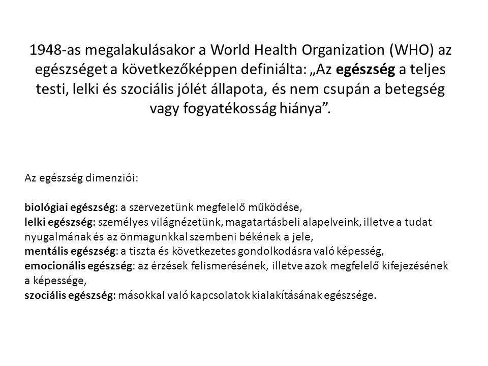 """1948-as megalakulásakor a World Health Organization (WHO) az egészséget a következőképpen definiálta: """"Az egészség a teljes testi, lelki és szociális"""