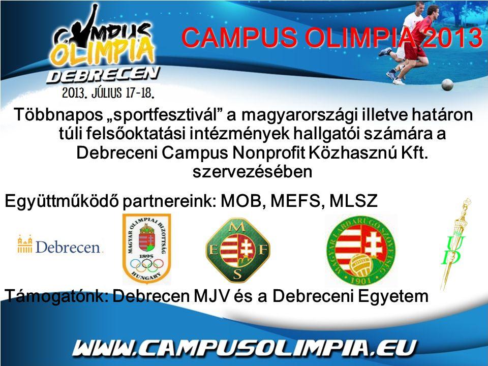 """Többnapos """"sportfesztivál a magyarországi illetve határon túli felsőoktatási intézmények hallgatói számára a Debreceni Campus Nonprofit Közhasznú Kft."""