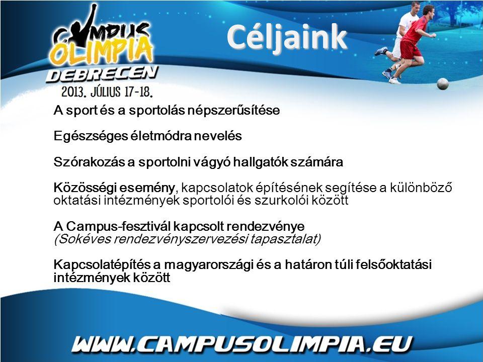 Céljaink A sport és a sportolás népszerűsítése Egészséges életmódra nevelés Szórakozás a sportolni vágyó hallgatók számára Közösségi esemény, kapcsolatok építésének segítése a különböző oktatási intézmények sportolói és szurkolói között A Campus-fesztivál kapcsolt rendezvénye (Sokéves rendezvényszervezési tapasztalat) Kapcsolatépítés a magyarországi és a határon túli felsőoktatási intézmények között