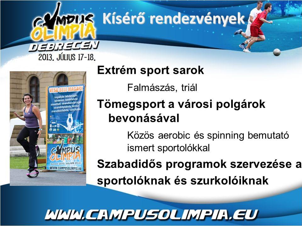 Extrém sport sarok Falmászás, triál Tömegsport a városi polgárok bevonásával Közös aerobic és spinning bemutató ismert sportolókkal Szabadidős programok szervezése a sportolóknak és szurkolóiknak Kísérő rendezvények