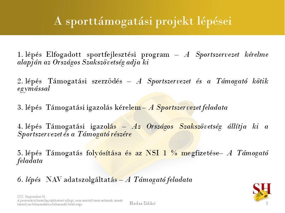 A sporttámogatási projekt lépései 1. lépés Elfogadott sportfejlesztési program – A Sportszervezet kérelme alapján az Országos Szakszövetség adja ki 2.