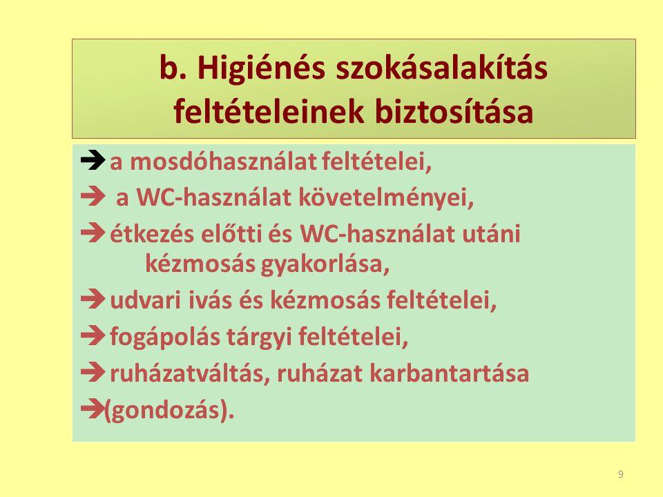 a. Egészséges környezet biztosítása 8  csoportszoba, tornaszoba, folyosó tisztaságának megléte,  mellékhelyiségek,  az udvar rendezése, felügyelete