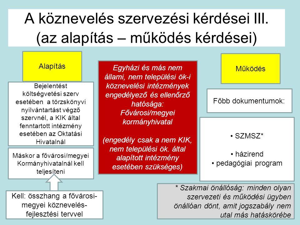 A köznevelés szervezési kérdései III.
