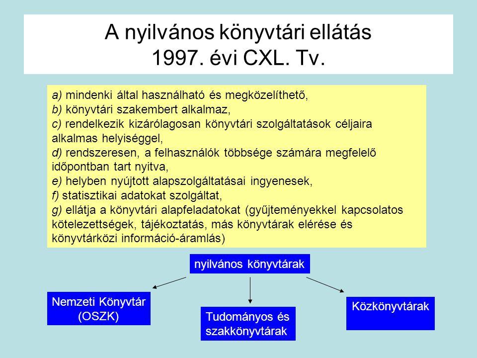 A nyilvános könyvtári ellátás 1997. évi CXL. Tv. a) mindenki által használható és megközelíthető, b) könyvtári szakembert alkalmaz, c) rendelkezik kiz