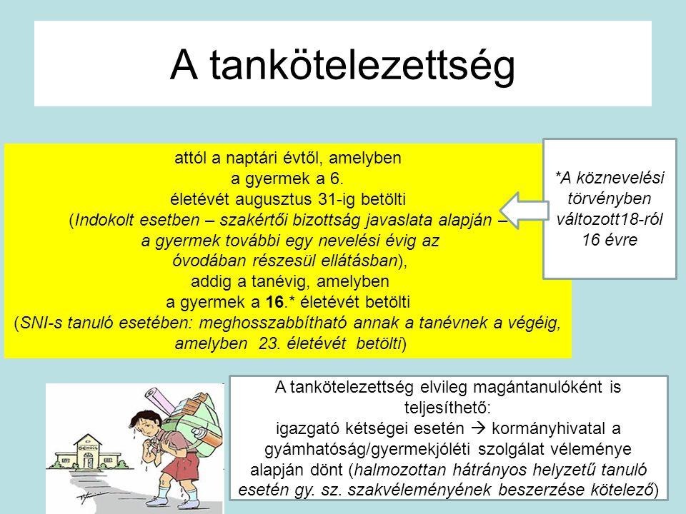 A tankötelezettség attól a naptári évtől, amelyben a gyermek a 6. életévét augusztus 31-ig betölti (Indokolt esetben – szakértői bizottság javaslata a