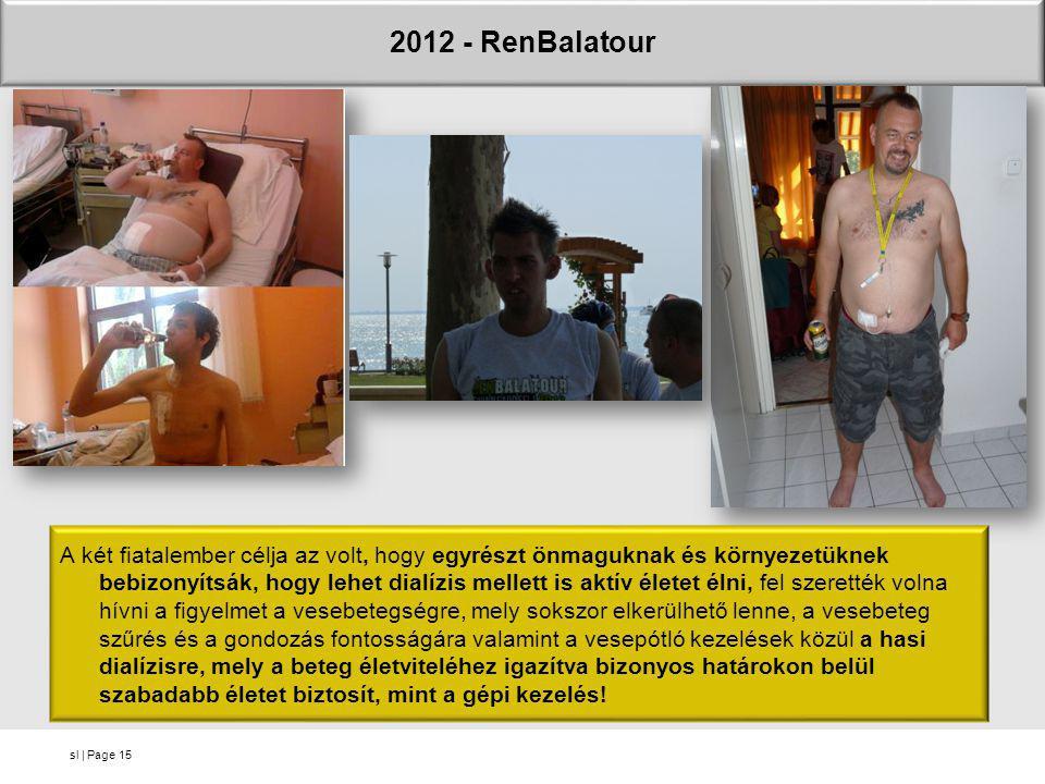 sl   Page 2012 - RenBalatour 15 A két fiatalember célja az volt, hogy egyrészt önmaguknak és környezetüknek bebizonyítsák, hogy lehet dialízis mellett