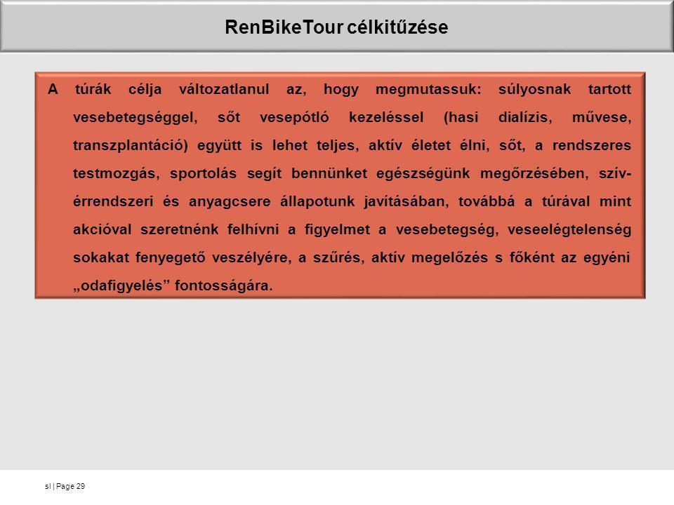 sl   Page RenBikeTour célkitűzése A túrák célja változatlanul az, hogy megmutassuk: súlyosnak tartott vesebetegséggel, sőt vesepótló kezeléssel (hasi
