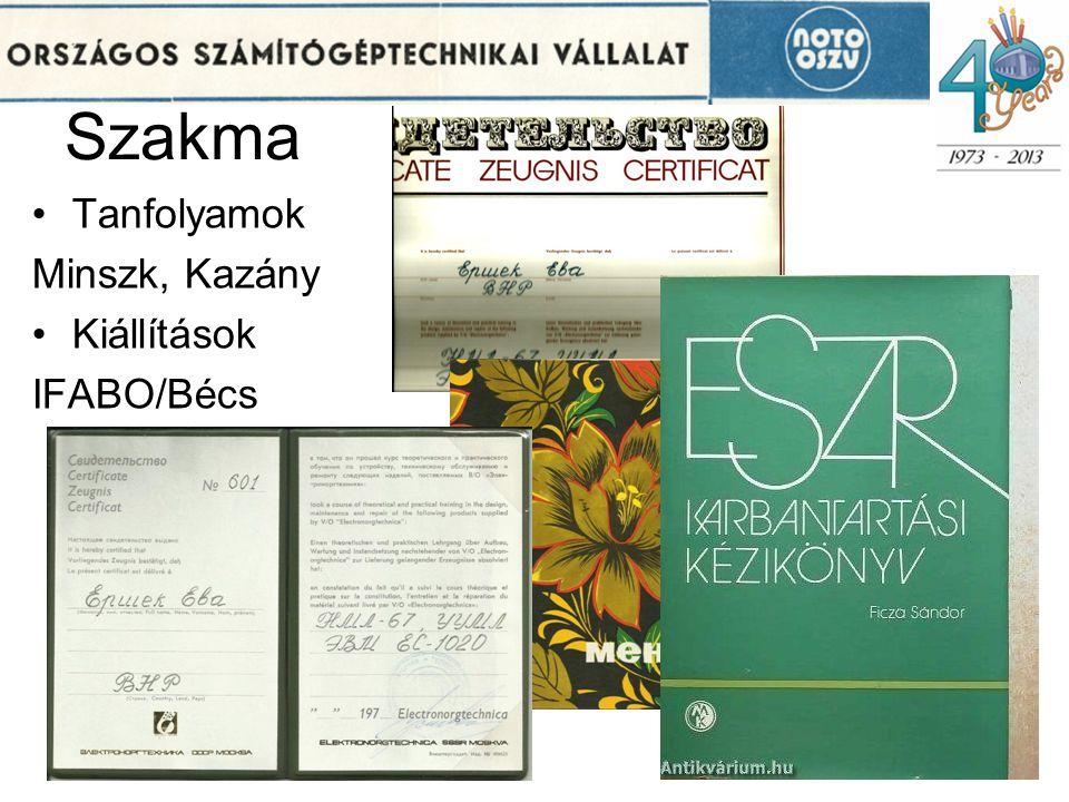 Szakma •Tanfolyamok Minszk, Kazány •Kiállítások IFABO/Bécs 11